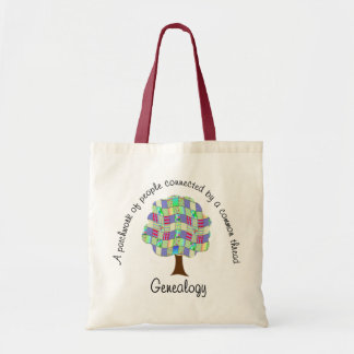 Family Tree Patchwork Quilt Genealogy Tote Bag