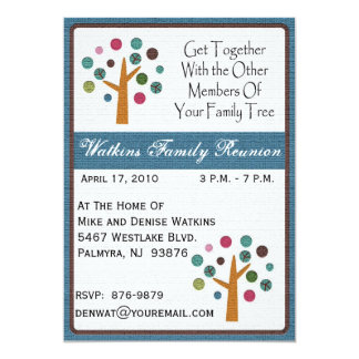 "Family Tree Reunion Invitation-+ 5"" X 7"" Invitation Card"