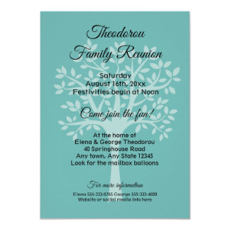 Family Tree Teal Green Family Reunion Invitation