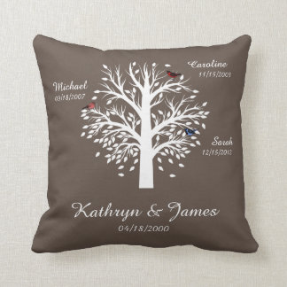 Family Tree, White Tree on Taupe w/ Names & Dates Throw Pillow