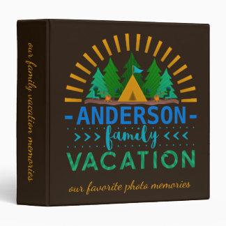 Family Vacation Camping Trip Memories Custom Name Vinyl Binders