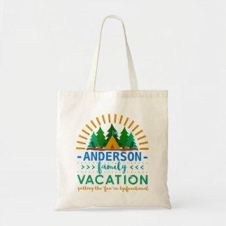 Family Vacation Funny Camping Trip | Custom Name Tote Bag
