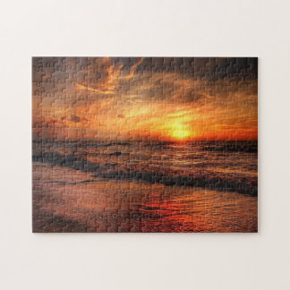 family vacation personalized souvenir sunset photo jigsaw puzzle