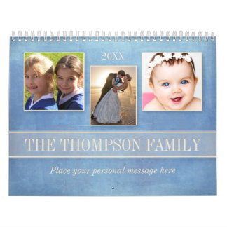 Family Watercolor Floral Personalized Photo Calendars
