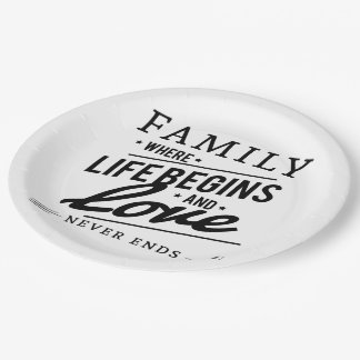 Family where life begins and love never  ends 9 inch paper plate