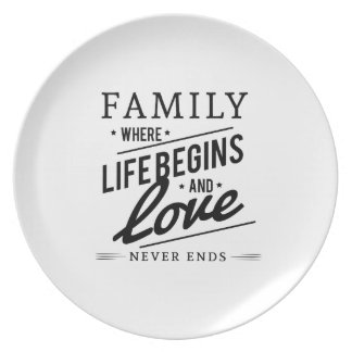 Family: Where Life Begins And Love Never Ends Dinner Plates