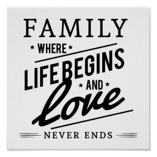 Family Where Life Begins And Love Never Ends Quote Poster
