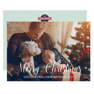 Family with a Dog Merry Christmas Photo Card