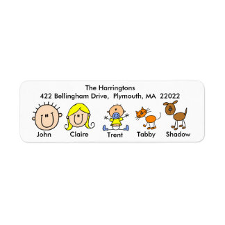Family With Cat and Dog Address Labels