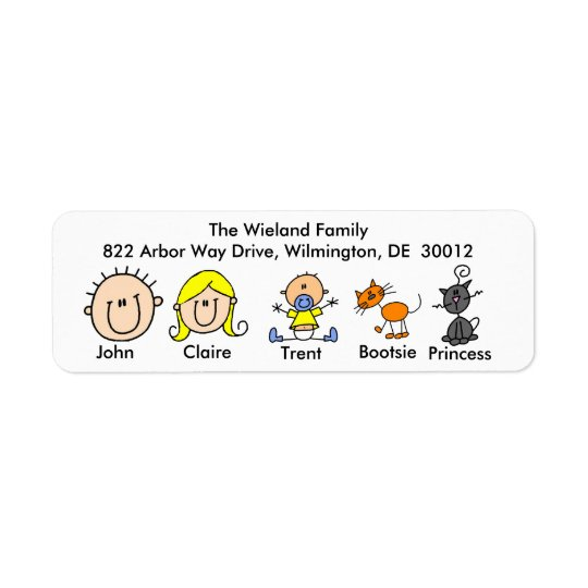 Family With Two Cats  Address Labels