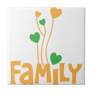 FAMILY words with love heart balloons Tile