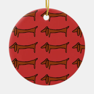Famous Abstract Dachshund Ceramic Ornament