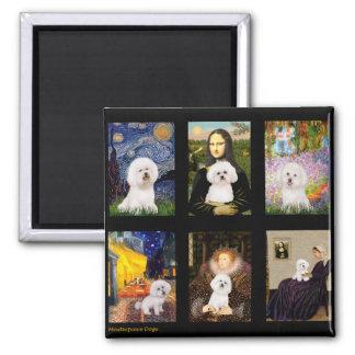 Famous Art Bichon Frise Composite Square Magnet