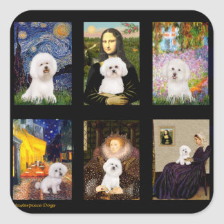 Famous Art Bichon Frise Composite Square Sticker