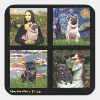 Famous Art Pug Composite #1 Square Sticker
