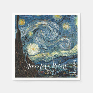 Famous art - Starry Night by Vincent van Gogh. Disposable Napkin