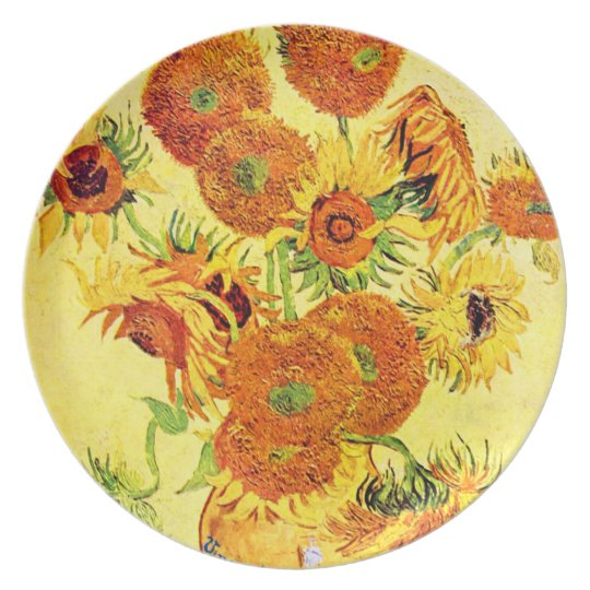 Famous Artist Sunflower  Design Plate