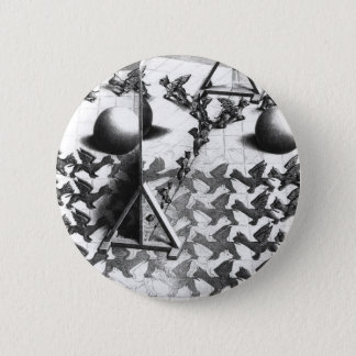 famous black & white draw 2 inch round button
