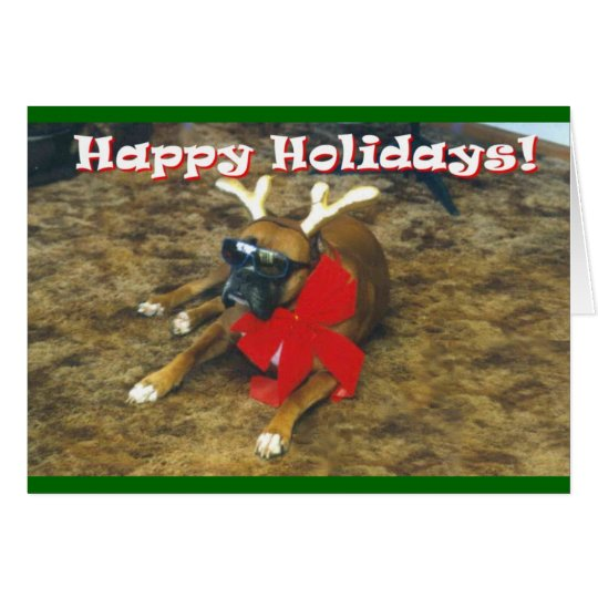 Famous Boxer-Reindeer Card