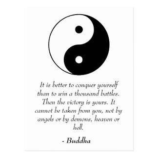Famous Buddha Quotes - Conquer Yourself Postcard