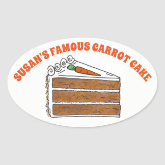 Famous Carrot Cake Slice Baked By Personalized Oval Sticker