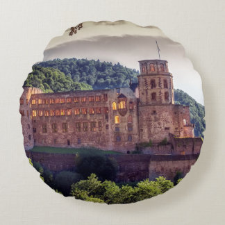 Famous castle ruins, Heidelberg, Germany Round Pillow