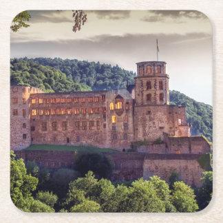 Famous castle ruins, Heidelberg, Germany Square Paper Coaster