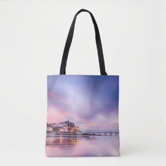 Famous Cromer pier in Norfolk UK with pink sky Tote Bag