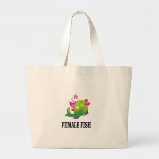 famous female fish large tote bag