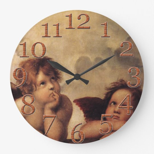 Famous fine art, Raphael,Sistine Cherub Large Clock