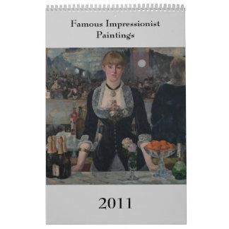 Famous Impressionist Paintings Calendar