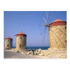 Famous old windmills of Rhodes Greece Postcard