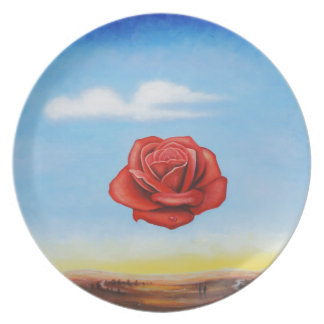 famous paint surrealist rose from spain plate