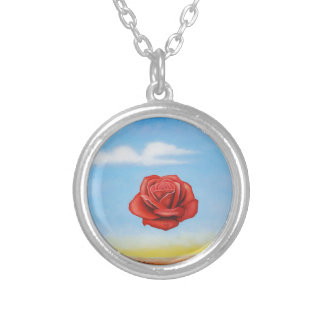 famous paint surrealist rose from spain silver plated necklace