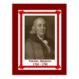 Famous people, Banjamin Franklin 1705-1790 Postcard