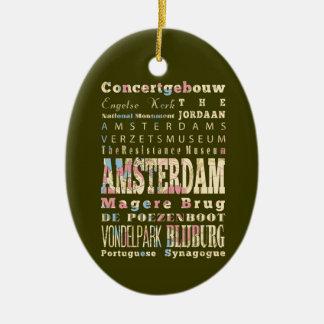 Famous Places of Amsterdam, Netherlands. Ceramic Ornament