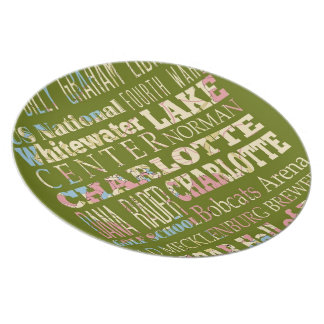 Famous Places of Charlotte, North Carolina. Dinner Plates