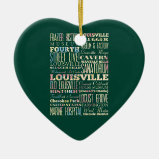 Famous Places of Louisville, Kentucky. Ceramic Heart Ornament