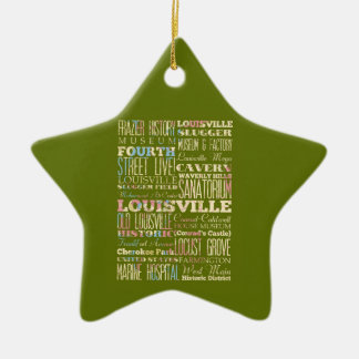 Famous Places of Louisville, Kentucky. Ceramic Star Ornament