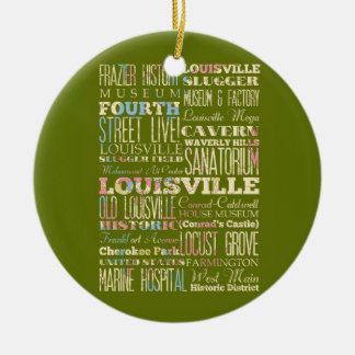 Famous Places of Louisville, Kentucky. Round Ceramic Ornament