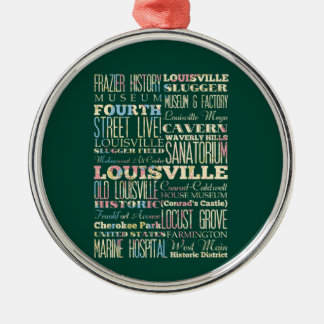 Famous Places of Louisville, Kentucky. Silver-Colored Round Ornament