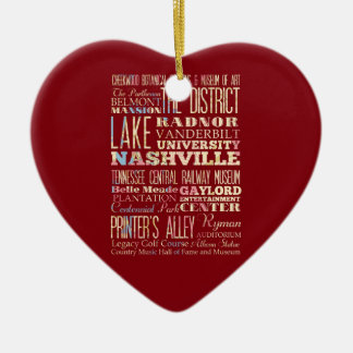 Famous Places of Nashville, Tennessee. Ceramic Heart Ornament