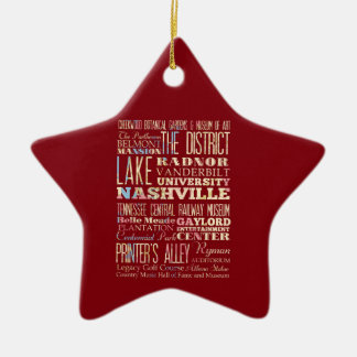 Famous Places of Nashville, Tennessee. Ceramic Star Ornament