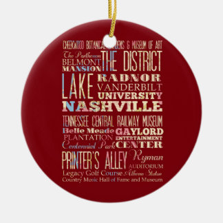 Famous Places of Nashville, Tennessee. Round Ceramic Ornament