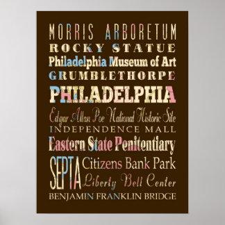 Famous Places of Philadelphia, Pennsylvania. Poster