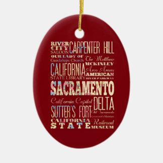 Famous Places of Sacramento, California. Ceramic Ornament