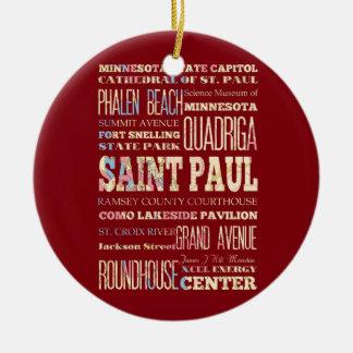 Famous Places of Saint Paul, Minnesota. Ceramic Ornament