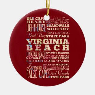 Famous Places of Virginia Beach, Virginia. Ceramic Ornament