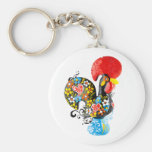 Famous Rooster of Barcelos Nr 06 - Floral edition Basic Round Button Keychain