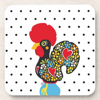 Famous Rooster of Barcelos Nr 06 - Polka Dots Beverage Coasters